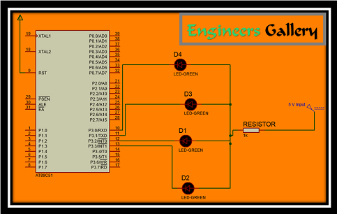 interface 8051 with LED