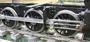 Steel tyres of a locomotive.