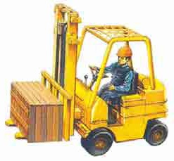 Fork lift is used to move goods from one place to the other within the factory.