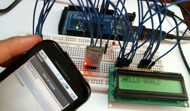 Text from mobile phone via bluetooth to lcd engineers