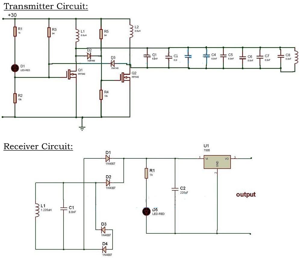wireless power transfer circuit diagram: